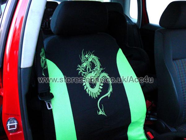 Green Dragon Logo Car Seat Covers Set Mats Steering Wheel