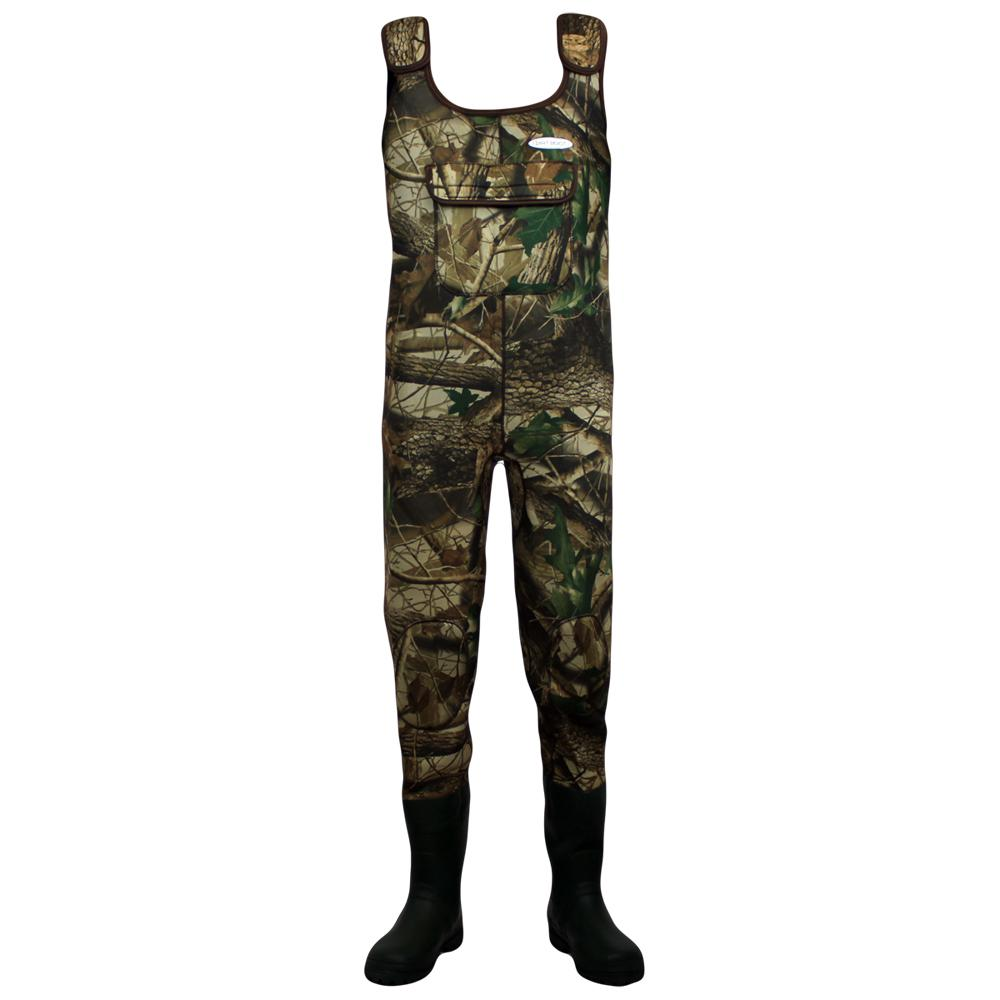 Dirt boot camo neoprene chest waders 100 waterproof for Fishing waders with boots