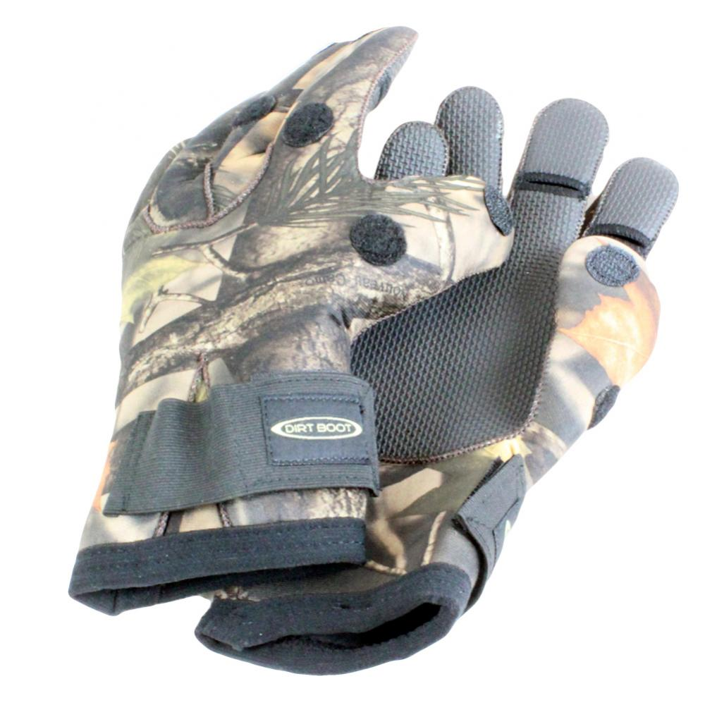 Dirt boot neoprene fishing camo gloves folding fingers for Neoprene fishing gloves
