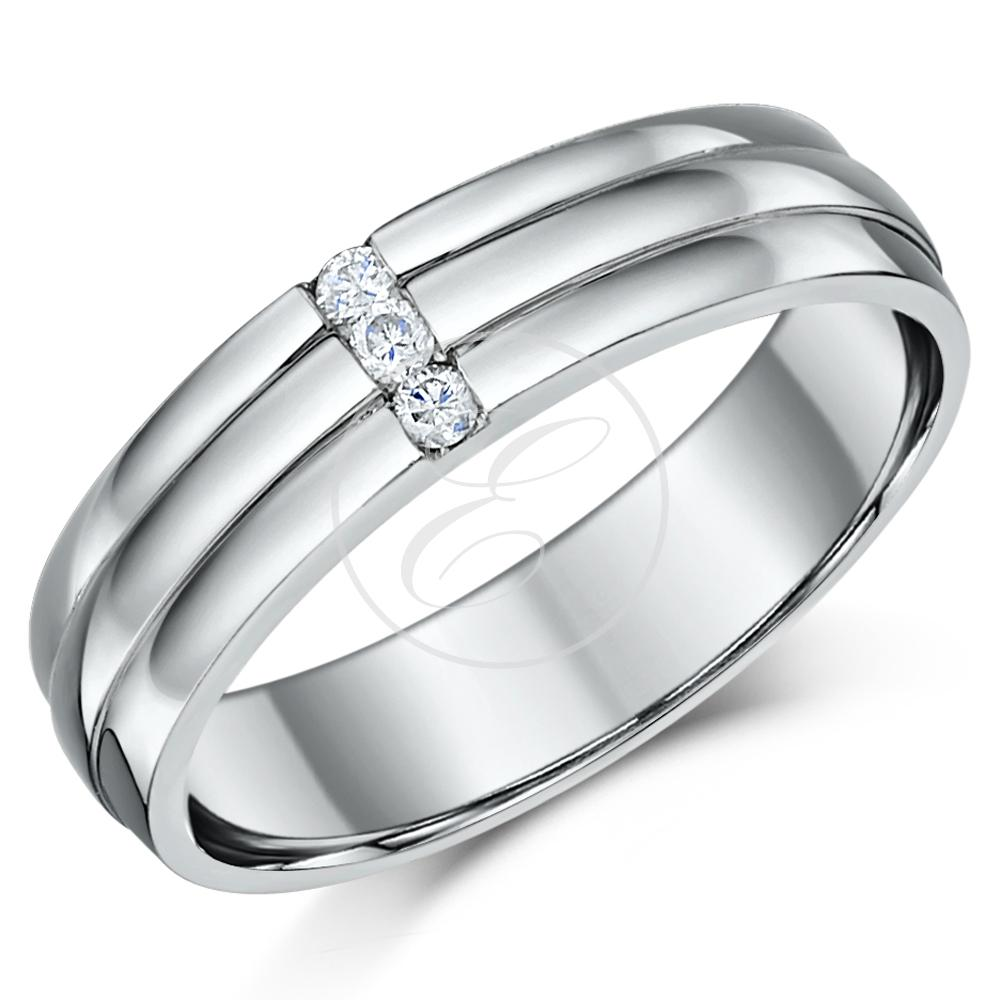 palladium wedding ring band grooved three