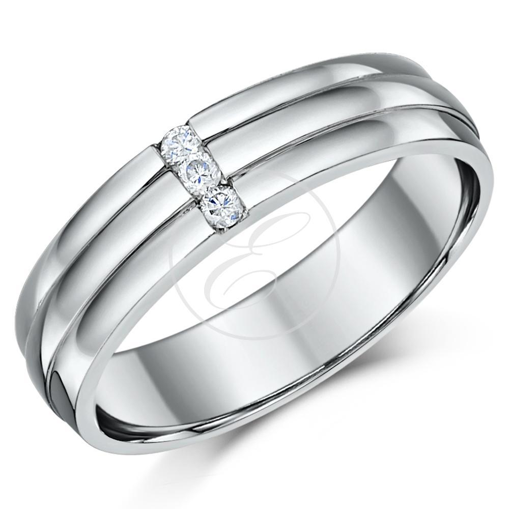 Palladium Diamond Wedding Ring Band Grooved Three Diamond