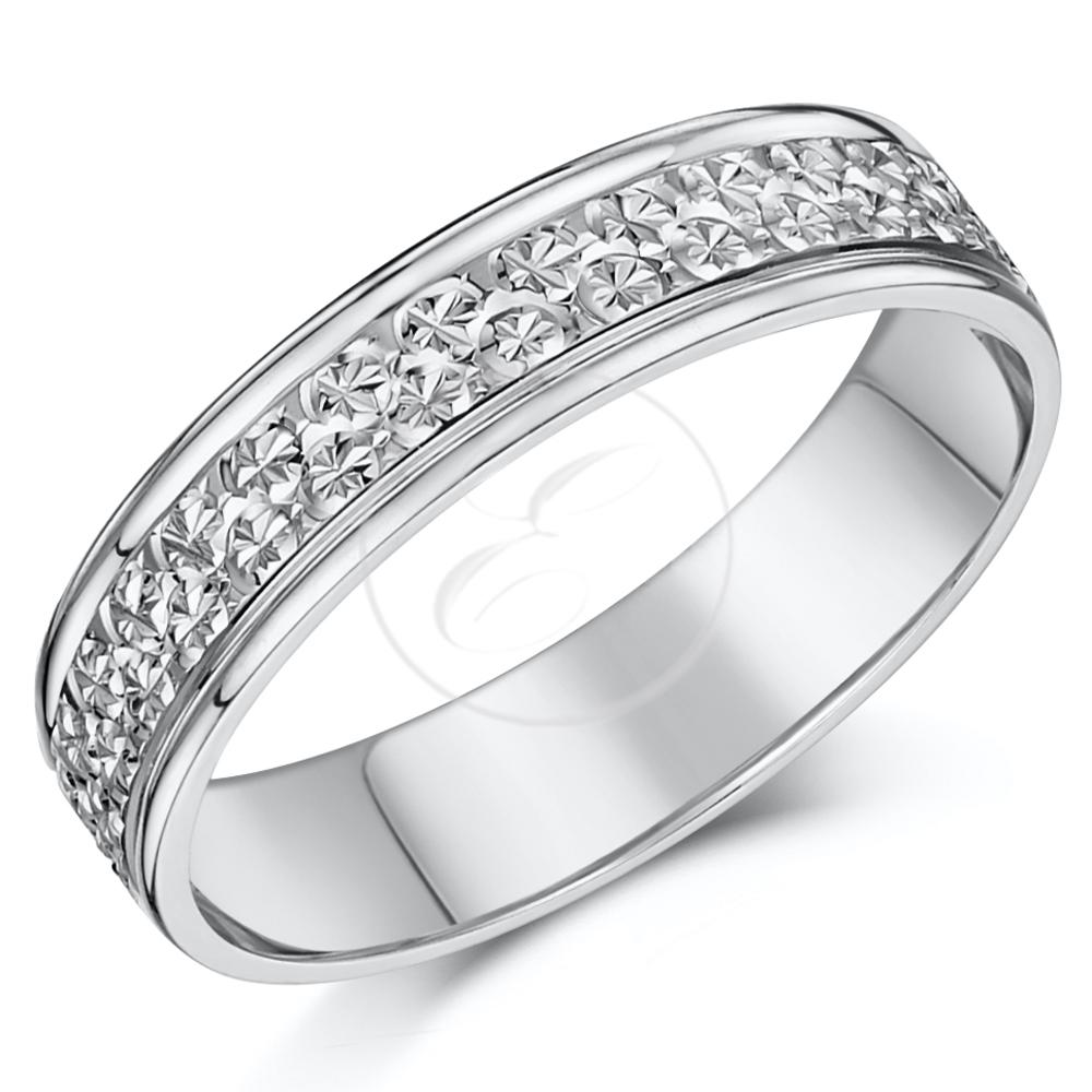 9ct white gold ring diamond cut flat wedding ring band 4mm With flat wedding rings with diamonds