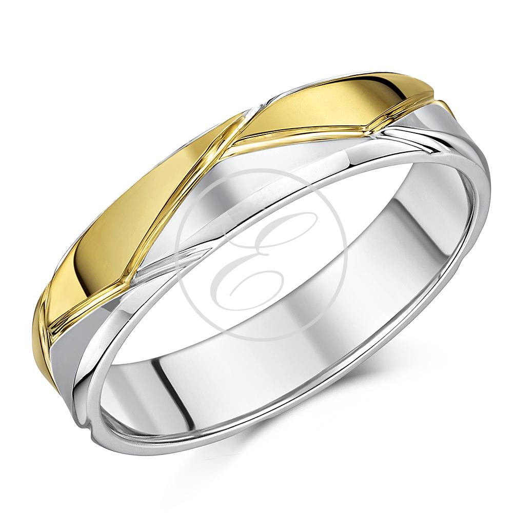 Silver & 9ct Yellow Gold Patterned Wedding Ring 5mm Band