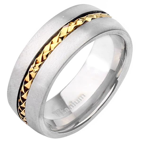 Titanium Amp Gold Center Two Tone Wedding Ring 8mm Ring
