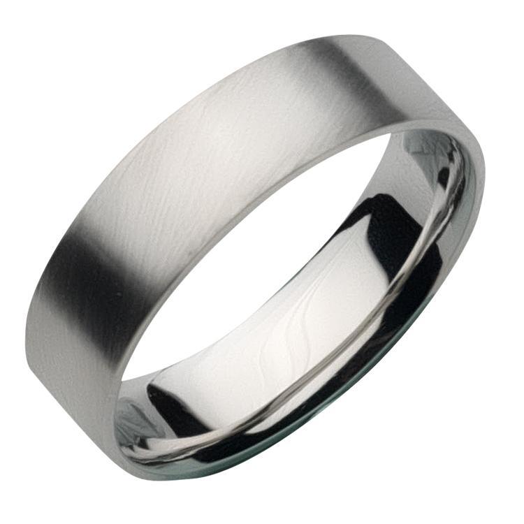 brushed palladium wedding band flat court wedding ring 6mm