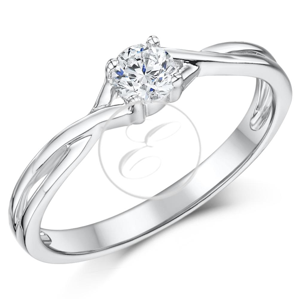 9ct White Gold Diamond Solitaire Engagement Ring Quarter