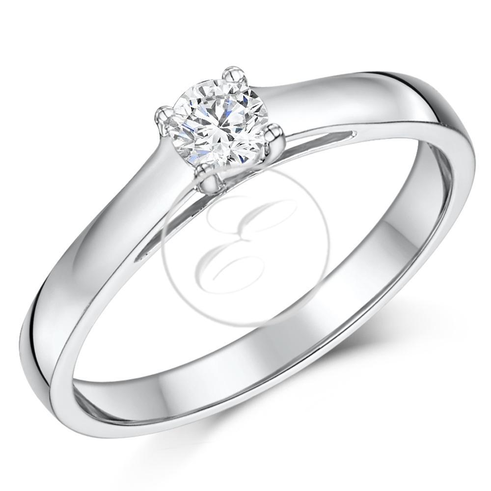 Engagement Rings Jewellery Quarter: 9ct White Gold Diamond Solitaire Engagement Ring Quarter