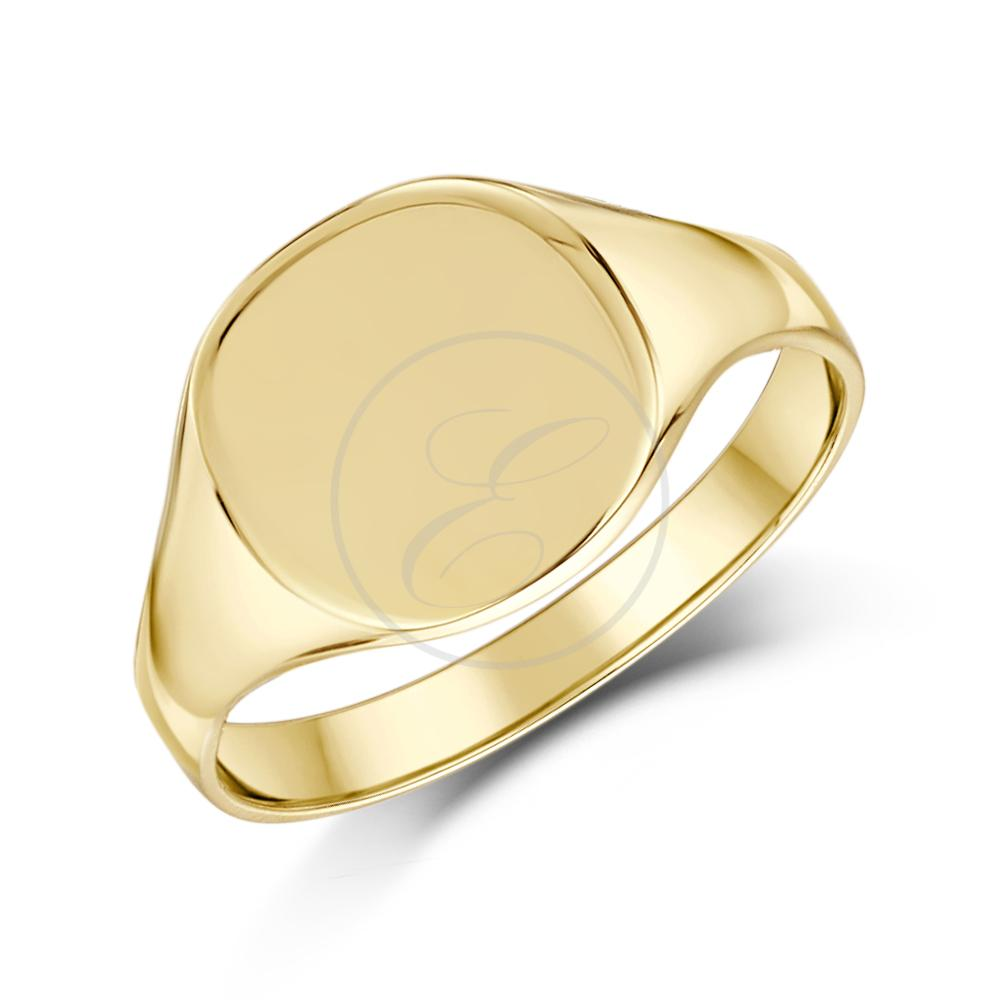 signet ring 9ct yellow gold cushion shaped