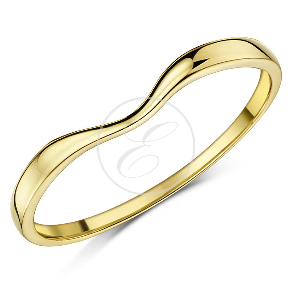 Curved Wedding Bands: 9ct Yellow Gold Ring Curved Wishbone Wedding Ring Band