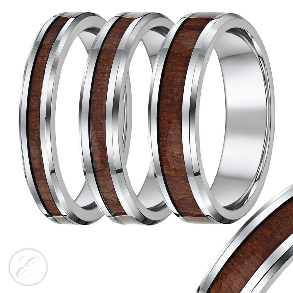 titanium wedding ring band with wood grained inlay 4mm 5mm 6mm