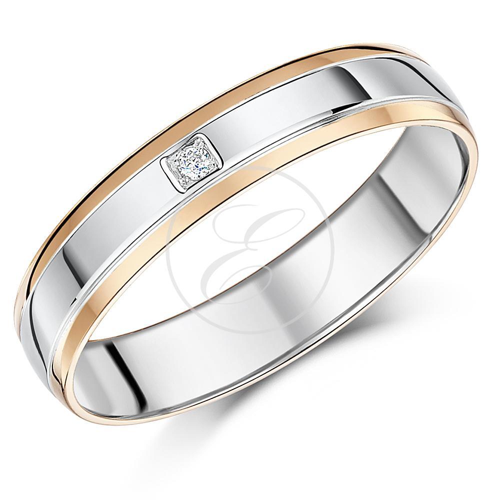 9ct rose gold sterling silver diamond ring 5mm men 39 s. Black Bedroom Furniture Sets. Home Design Ideas