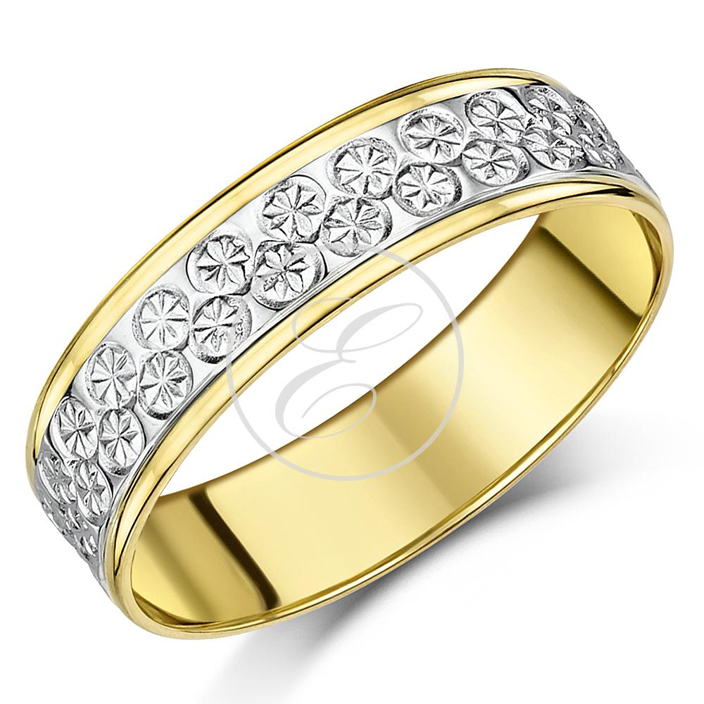 designer 9ct yellow white gold two tone wedding ring 5mm