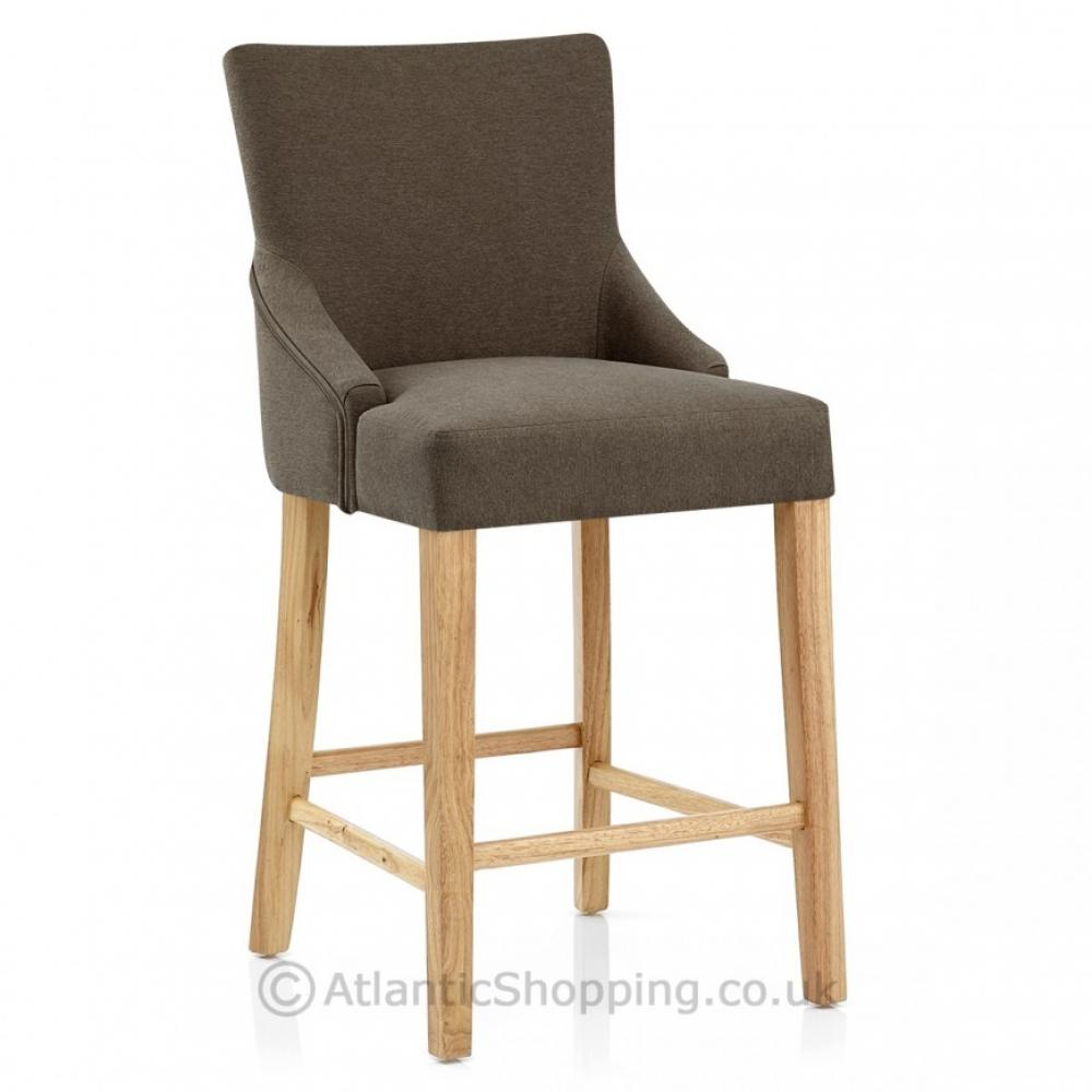 Magna Wooden Oak Fabric Kitchen Breakfast Bar Stool EBay