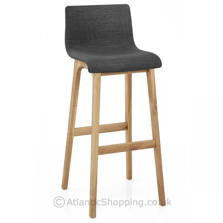 Drift Wooden Oak Fabric Kitchen Breakfast Bar Stool Ebay