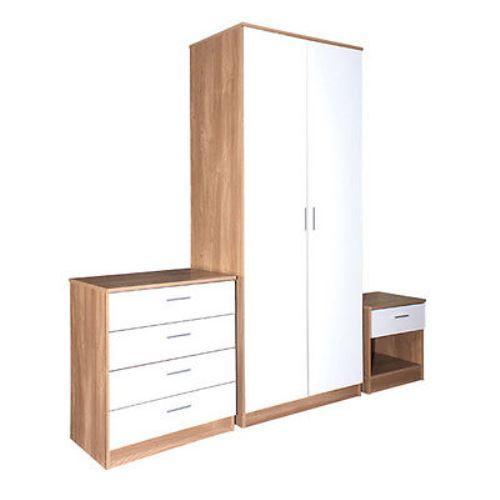 Oak & White Gloss Bedroom Furniture 3 Piece Trio Set