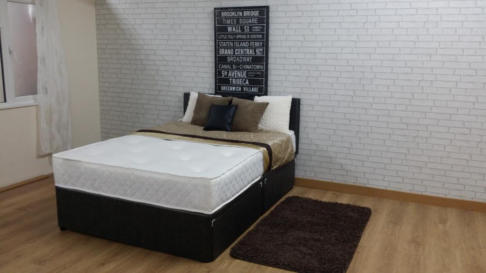 Divan bed pocket sprung mattress headboard 5ft kingsize for Divan 5ft beds