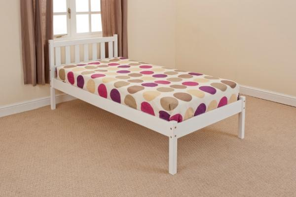 single bed in white 3ft single bed wooden frame white ebay. Black Bedroom Furniture Sets. Home Design Ideas