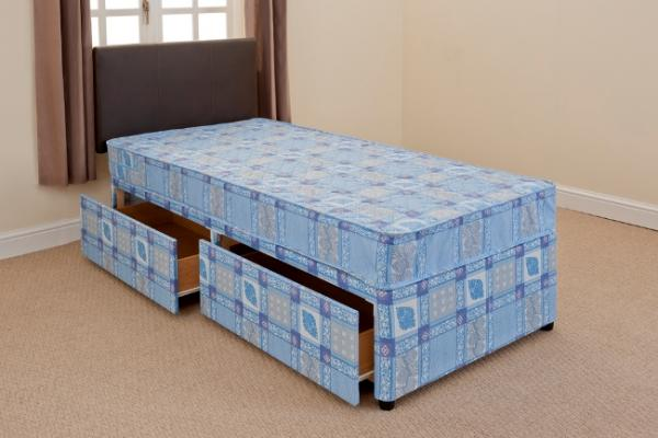 2ft6 shorty divan bed mattress free 24hr delivery uk for Single divan bed with slide storage