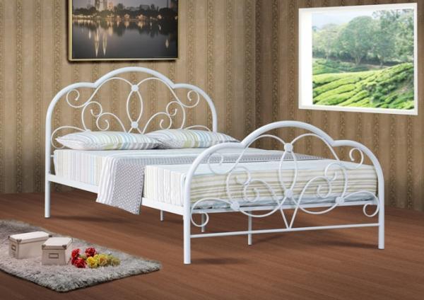 Alexis 4ft 4ft6 Amp 5ft White Metal Bed Frame Bedstead Ebay
