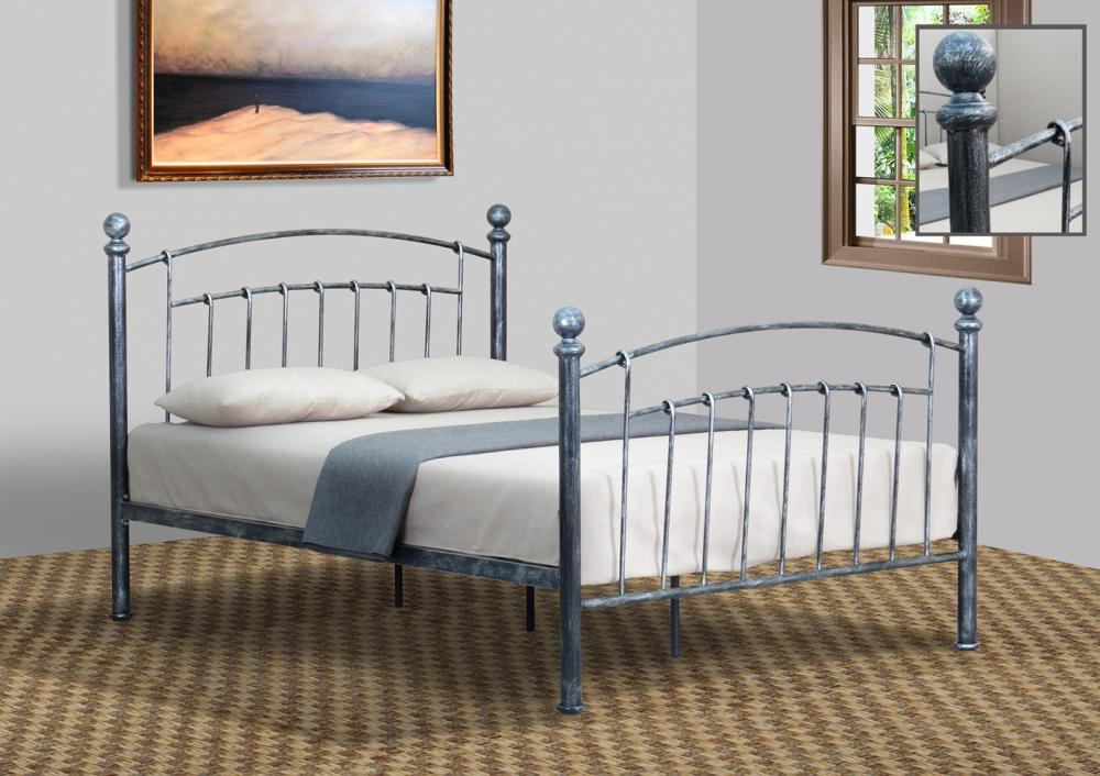 white metal headboard with crystal finials