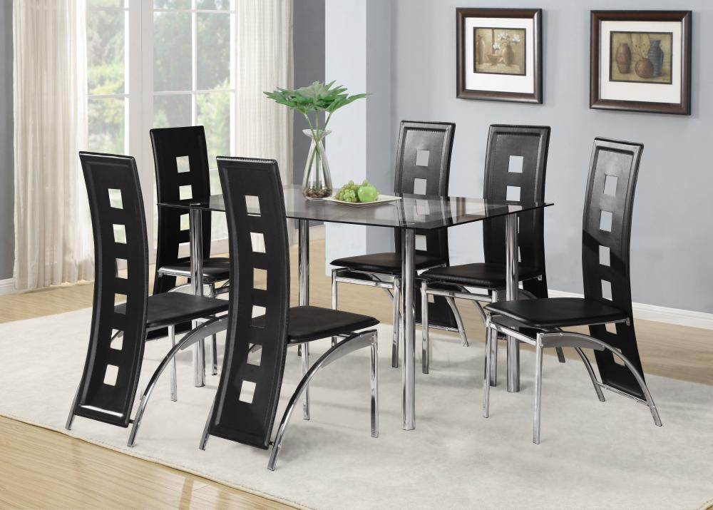 black glass dining room table set and with 4 or 6 faux leather chrome
