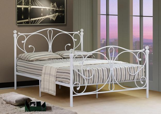 4ft 4ft6 double 5ft king black or white metal bed frame with crystal finials