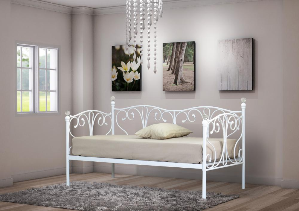 2ft6 3ft Day Bed And Trundle With Crystal Finials In