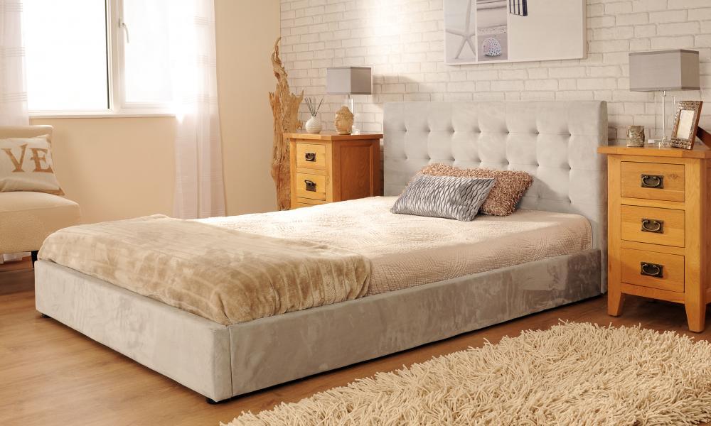 Upholstered Faux Suede Deluxe Bed Frame 3ft 4ft6 5ft Mink