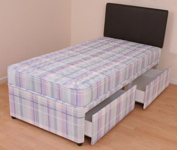 Single divan bed 3ft orthopaedic mattress melissa slide for Single divan with drawers and headboard