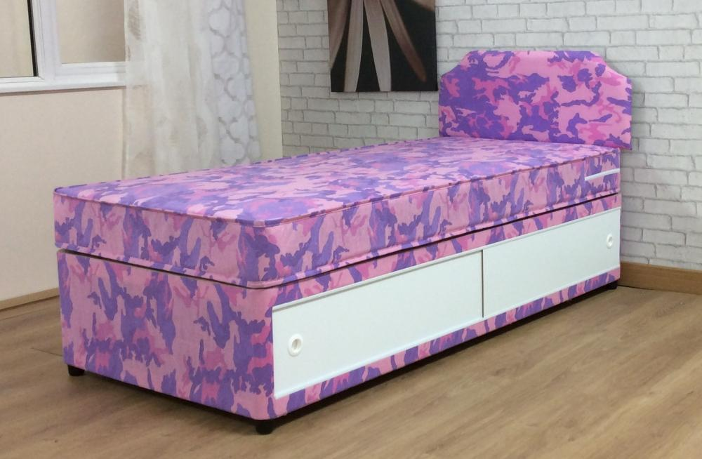 3ft Girls Single Divan Bed With Mattress And Headboard Pink Camouflage Children Ebay