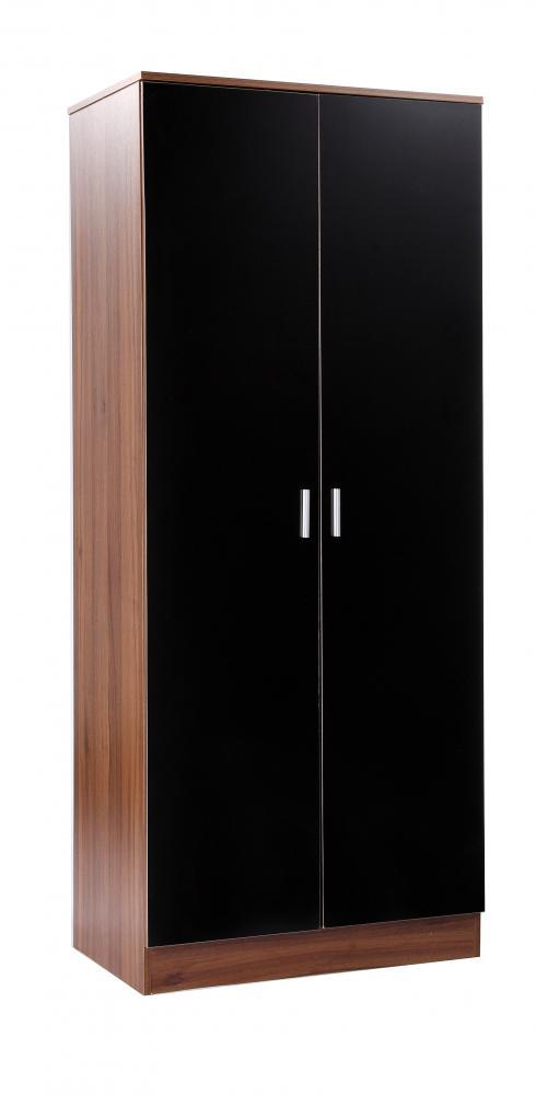 walnut black gloss bedroom furniture 4 piece set wardrobe chest 2 bedsides ebay. Black Bedroom Furniture Sets. Home Design Ideas