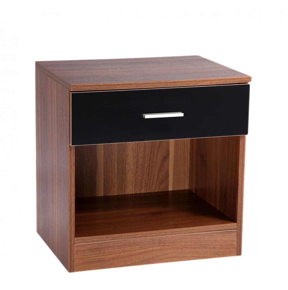 Caspian High Gloss Black Walnut 3pc Bedroom Furniture Set Robe Drawers Bedsid