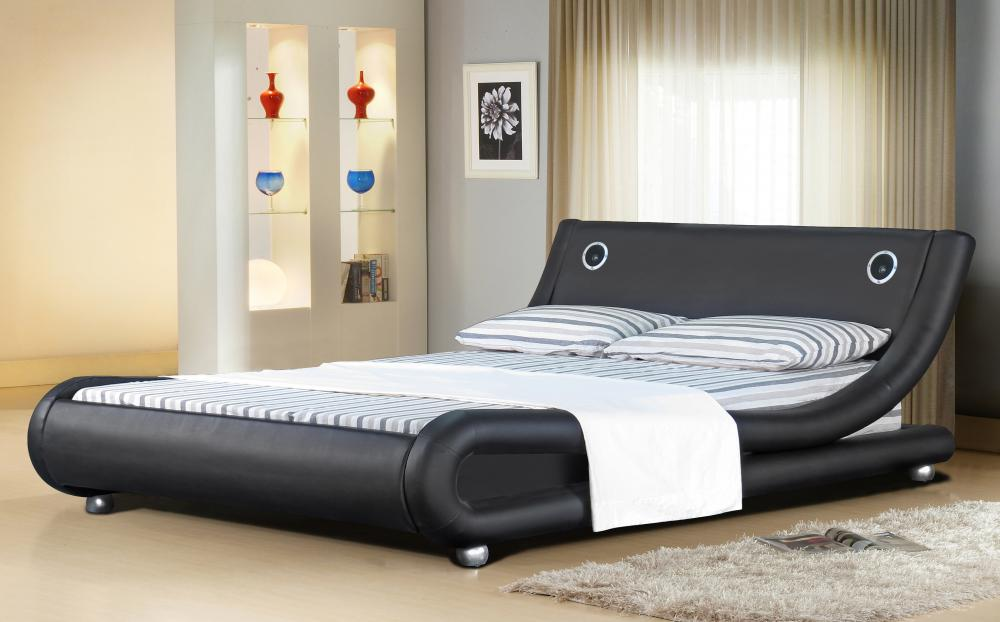 Italian Designer Faux Leather Bed With Bluetooth Speakers