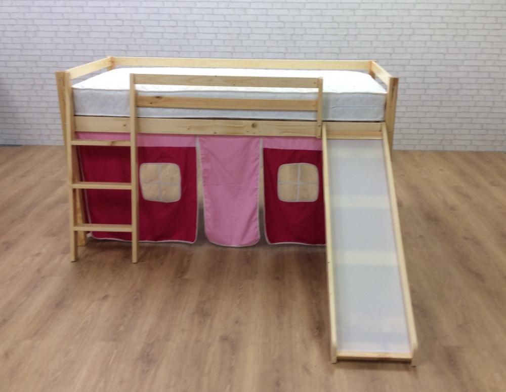 cabin bed with slide pink castle undertent in pine finish. Black Bedroom Furniture Sets. Home Design Ideas