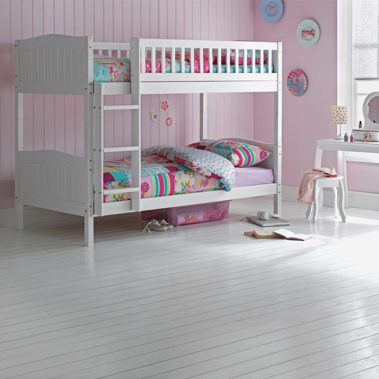 Wooden Bunk Bed Kids Childrens White 3ft Single Rosa With
