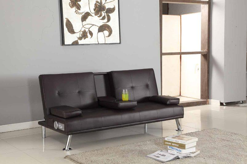 Bluetooth Cinema Sofa Bed With Drink Cup Holder Table Faux