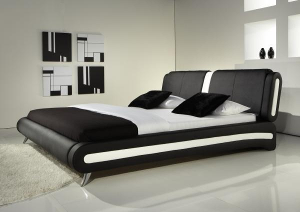 Exclusive Italian Black Faux Leather Designer Bed In Double And