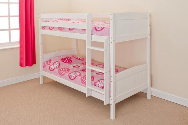 3ft Single Bunk Bed Wooden Frame in Pine White Can Split into 2