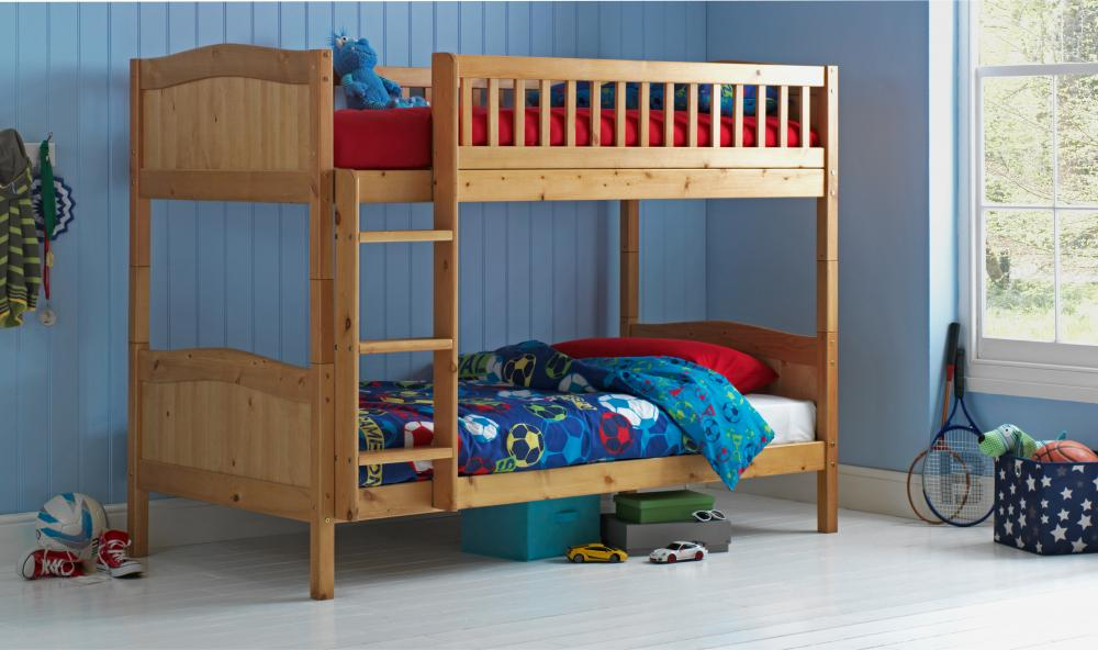 Wooden Bunk Bed Kids Childrens Caramel 3ft Rosa With Or