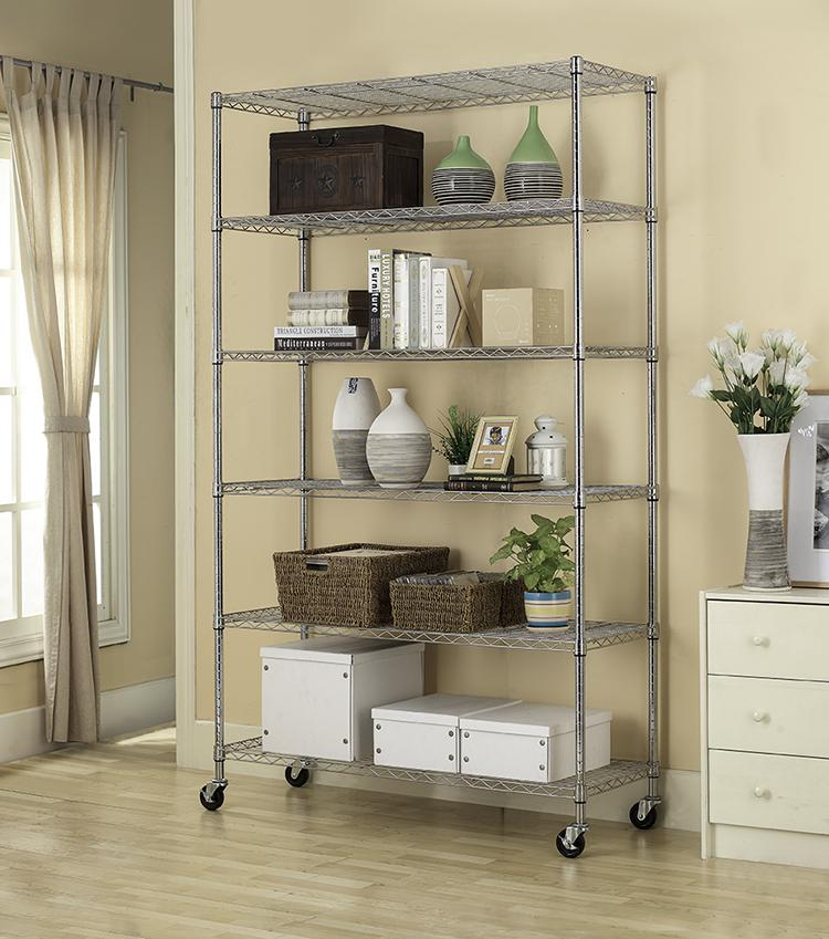 "Kitchen Storage Shelf: Commercial 82""x48""x18"" 6 Tier Layer Shelf Adjustable Wire"