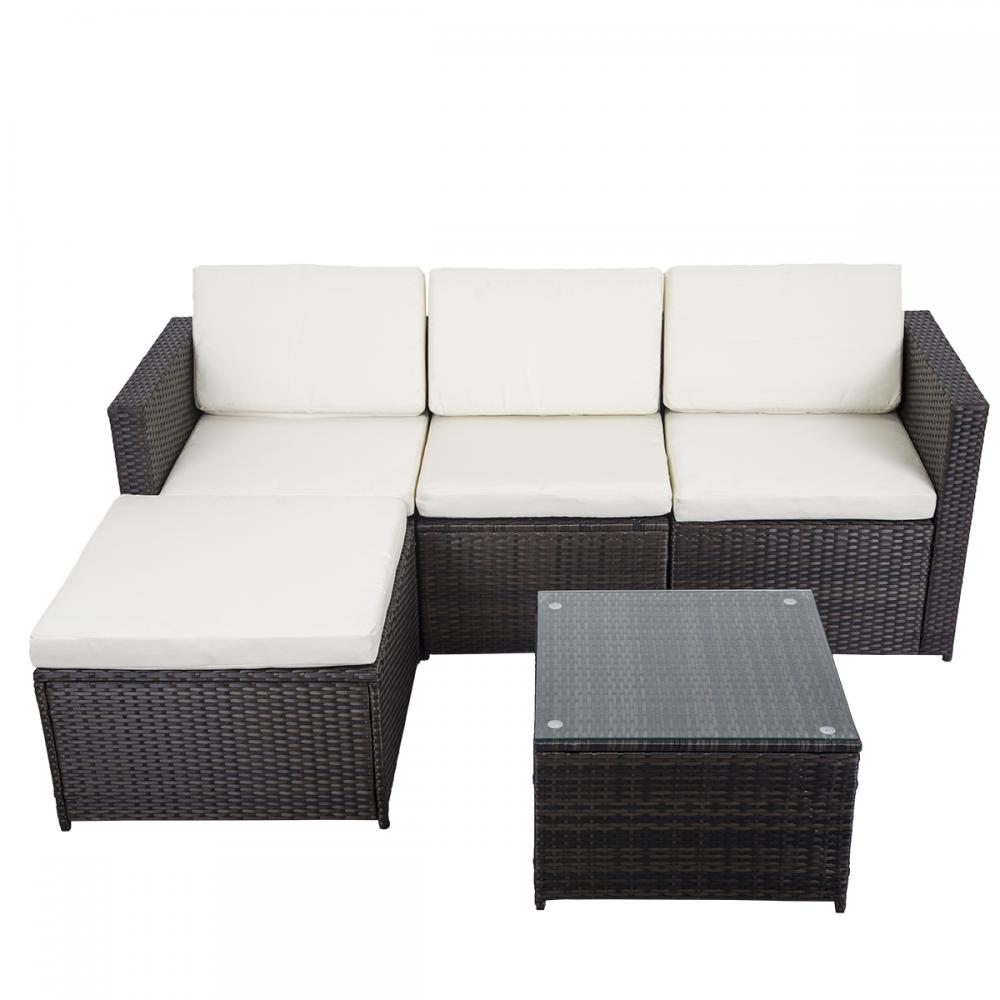 5 pcs outdoor patio sofa set sectional furniture pe wicker for Sectional sofa set up