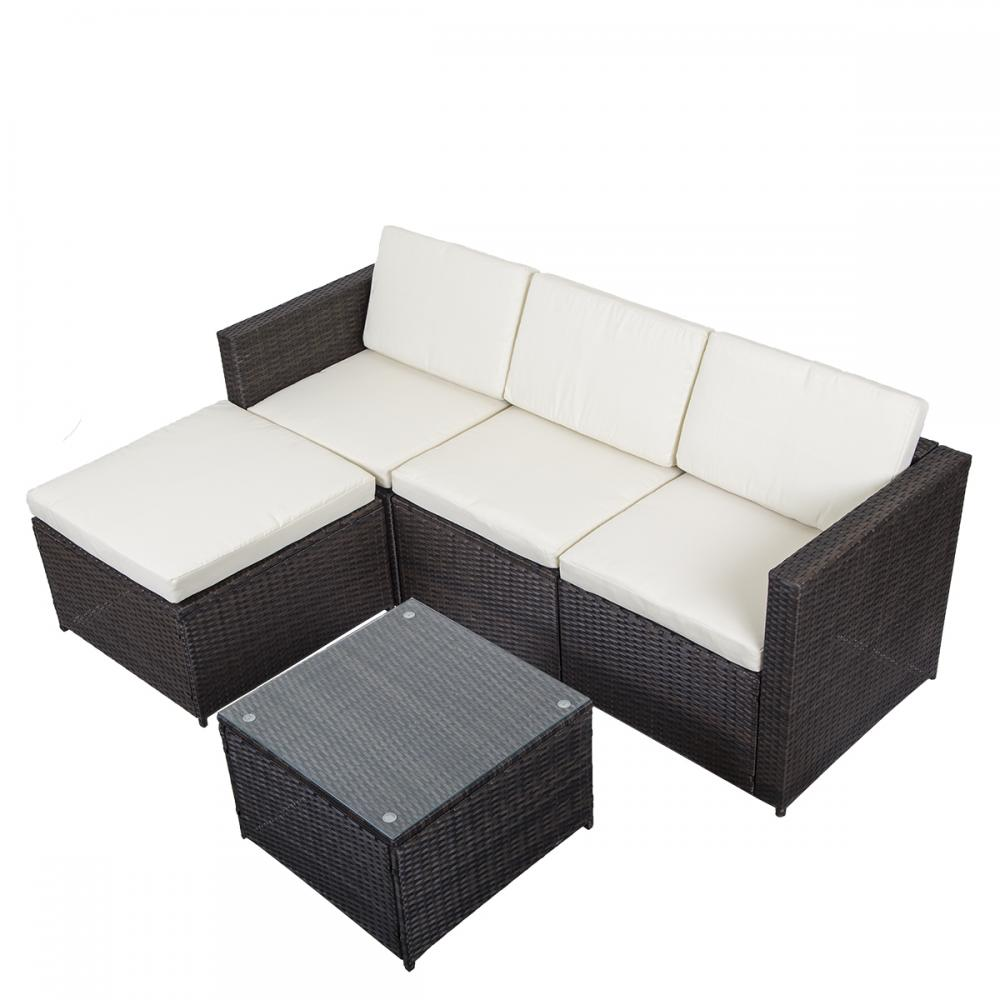5 Pcs Outdoor Patio Sofa Set Sectional Furniture Pe Wicker