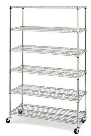 Black-Chrome-Commercial-6-Layer-Shelf-Adjustable-Steel-Wire-Metal-Shelving-Rack