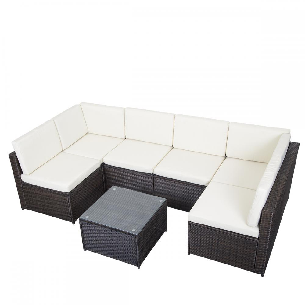 7 pcs outdoor patio sofa set sectional furniture pe wicker for Sectional sofa on ebay