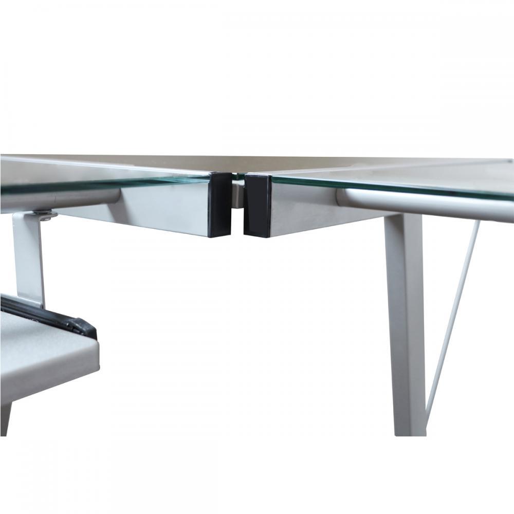 L Shape Corner Computer Desk Glass Laptop Table