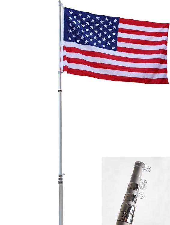 16/20/25FT Flag Pole Kit Telescopic Aluminum Flagpole US Flag Ball Fly 2 Flags F