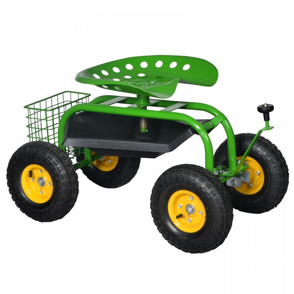 Green Heavy Duty Gardening Planting Garden Cart Rolling Work Seat