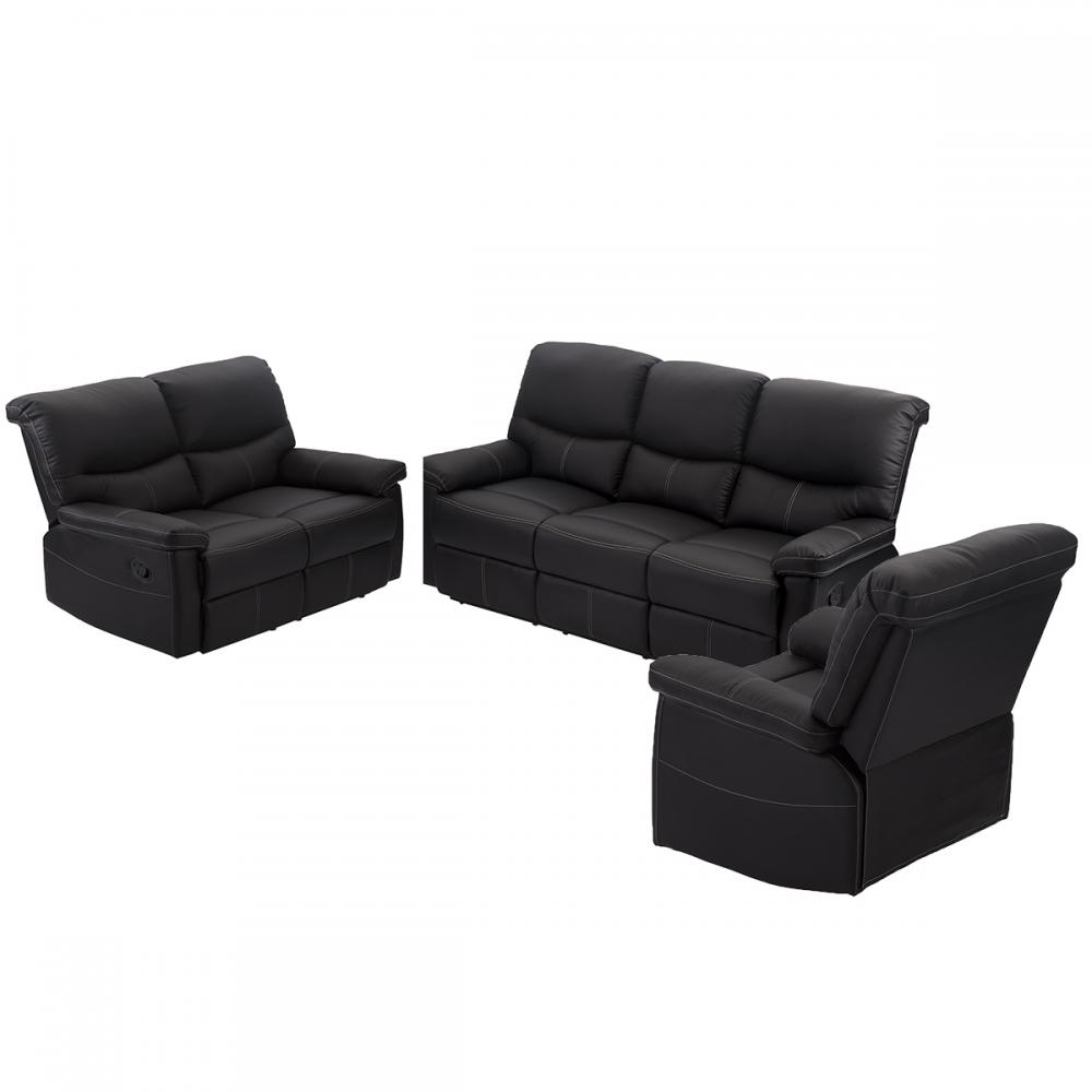 3 set sofa loveseat chaise couch recliner 321 leather living room furniture - Black Leather Loveseat