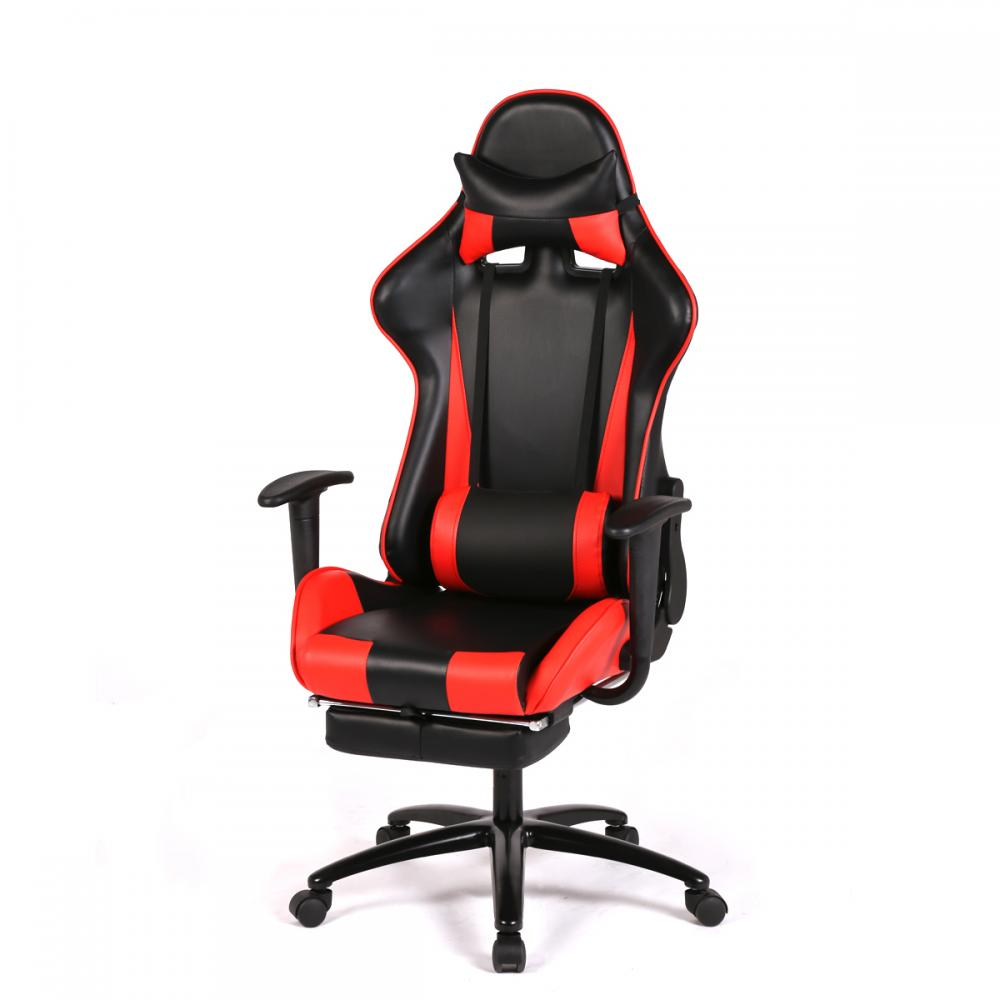 Red racing gaming chair high back computer recliner office for Chaise gamer pc