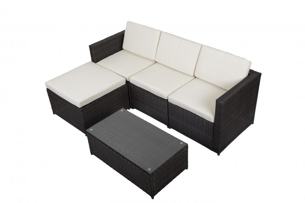 5PC Outdoor Patio Sofa Set Sectional Furniture PE Wicker Rattan Deck Couch  Brown5PC Outdoor Patio Sofa Set Sectional Furniture PE Wicker Rattan  . Rattan Garden Corner Sofa Ebay. Home Design Ideas